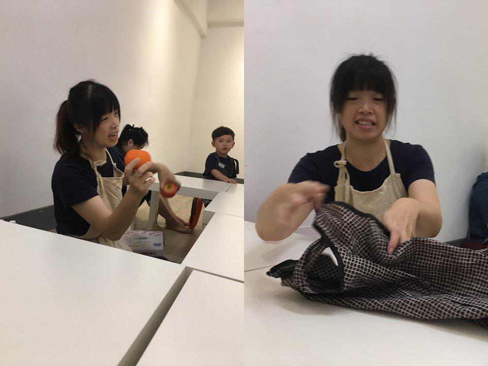 老師介紹每種水果,並要孩子們觸摸過後猜是什麼
