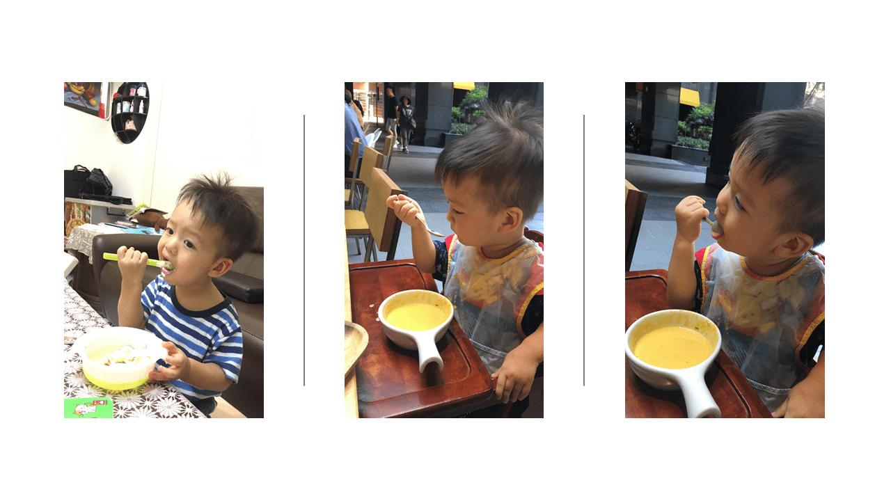 乳牙斷掉(門牙斷掉)後歡喜開始研發湯匙向下吃飯技能
