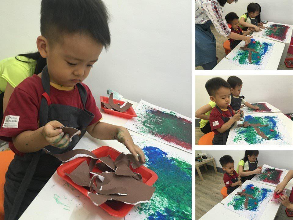 慢慢走創意空間-小小的撕紙動作也可以訓練孩子的小肌肉喔~